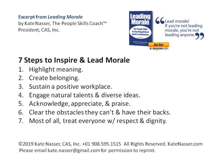7 Essential Steps to Lead Customer Service Morale:  Graphic with the 7 steps.