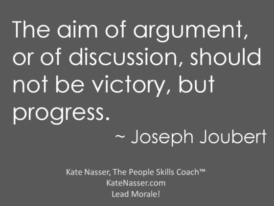 Hot Debates: Image is quote that aim of argument is not victory but progress.