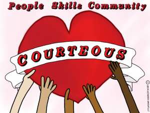 "Courtesy Awards: Image is a heart with the banner saying ""courteous""."