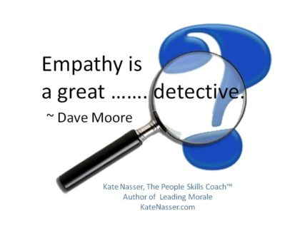 "Crises Empathy: Image is the saying ""Empathy is a great detective. ~ Mr Dave Moore"""