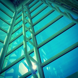 Leadership Success: Image is cross beams in tall building.