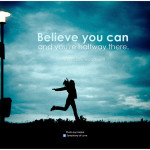 Leadership Beliefs: Image is Teddy Roosevelt's saying Believe & You Are Halfway Thre