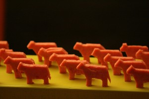 Customer Experience Leaders: Image is little cattle figures lined up.