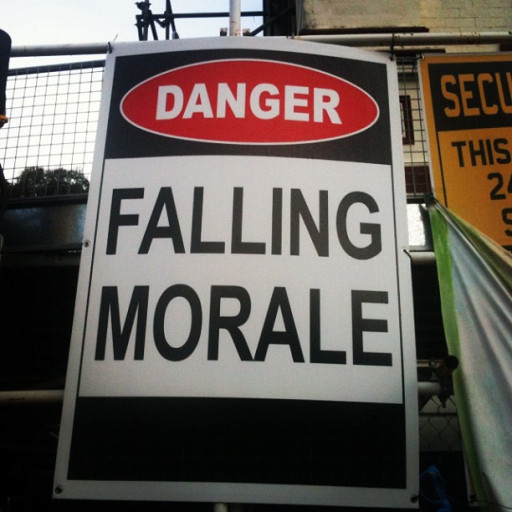 Customer Service Leaders: Image is sign Danger Falling Morale