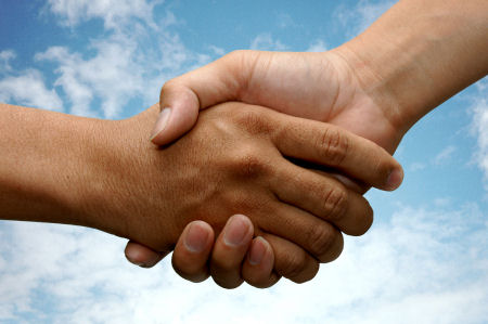 Be Treated Respectfully: Image is handshake.