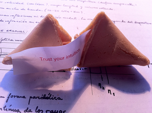 Leadership Intuition: Image is fortune cookie saying trust your intuition