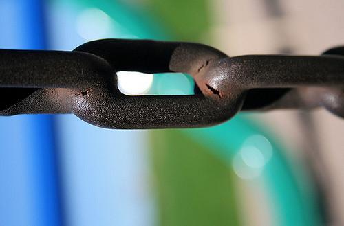 Leaders Break Free of Old Beliefs: Image is iron links in a chain