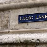 """Bluntness: Image is sign saying """"Logic Lane"""""""