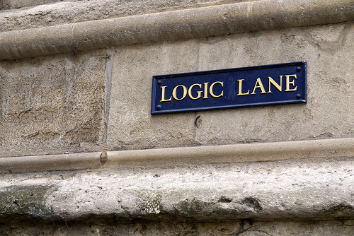 Bluntness: Image is sign that says Logic Lane.