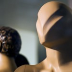 Modern leadership & teamwork: Image is faceless mannequins.