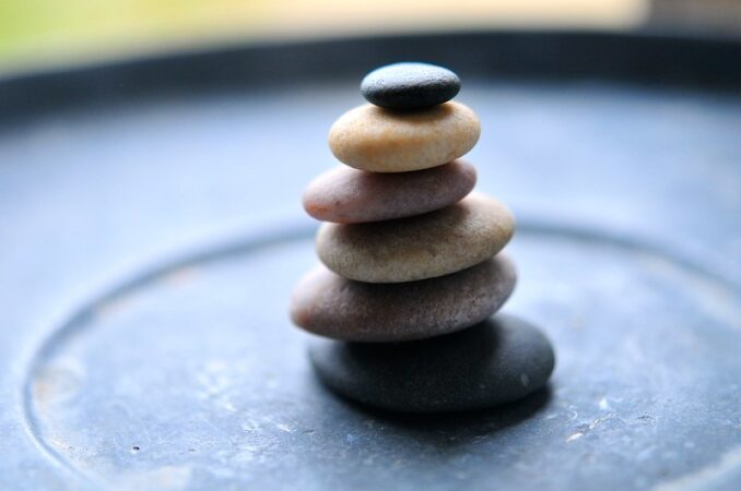 Peaceful Ego: Image is a stack of zen meditation stones.