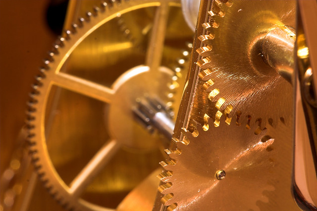 Leadership People Skills Timing: Image is golden gears.