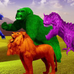 Prevent Verbal Conflict: Image is lion, dinosaur, gorilla, poised to attack.
