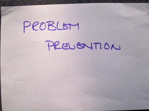 Proactive Leadership: Image is flip chart paper w/ words Problem Prevention