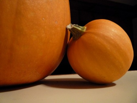 Leadership #Peopleskills: Image is small pumpkin leaning on large pumpkin
