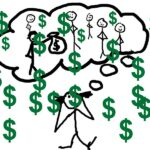 Tomorrow's Sales Revenue: Image is Dollar Signs Drawn Over Stick Figures of Humans