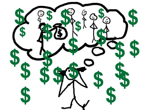 Sales Revenue: Image is Dollar Signs Drawn Over Stick Figures of Humans