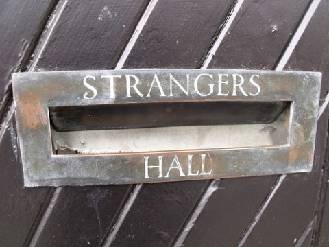 "Modern People Skills: Image is sign ""Strangers Hall"""