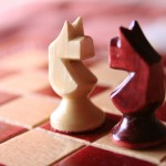 Teamwork Productivity: image is 2 chess pieces in face to face standoff.