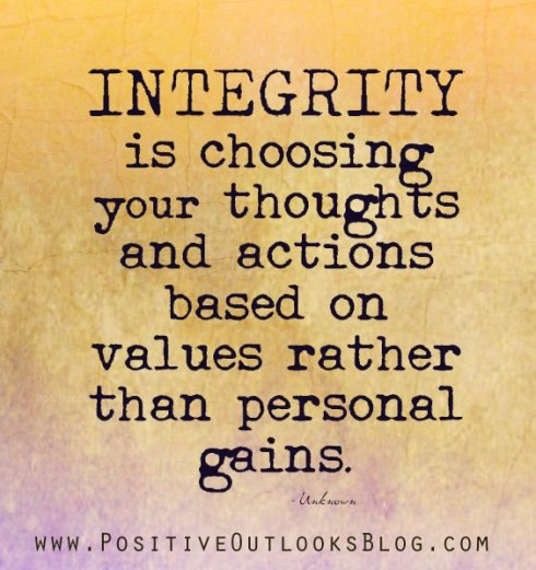 "Charismatic People Skills: Image is quote ""Integrity is choosing based on values not personal gain."""