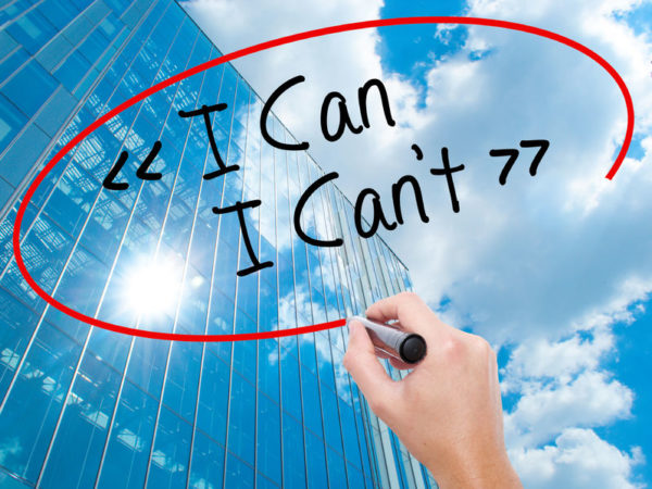 Leadership Fears: Image is hand written message saying I Can, I Can't.
