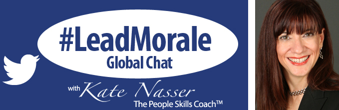 Empower Don't Grab Power: Image is #LeadMorale Chat Logo.