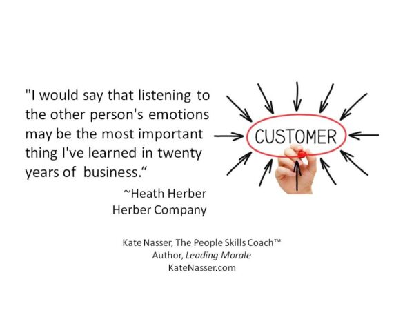 Decision Making Emotions: Image is Heath Herber quote about importance of listening.