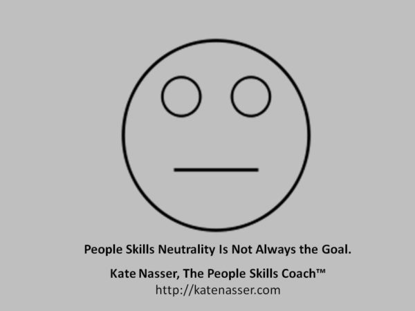 People Skills Neutrality: Image is round face with blank look.