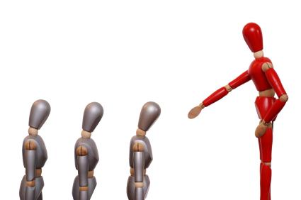 Leadership: Image is stick figure leader shaming employees.