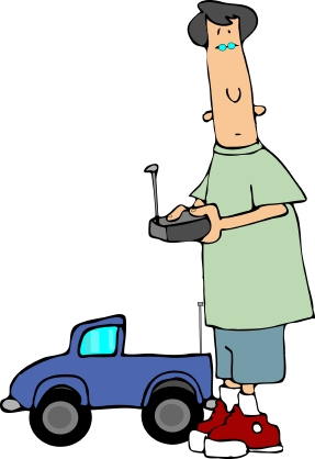 Leading Virtually: Image is cartoon of man playing with a remotely run car