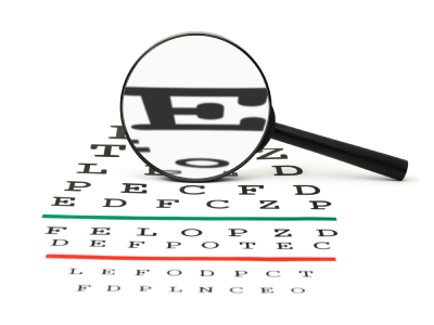 Leadership optimism: Image is eye chart w/ big E for explore.