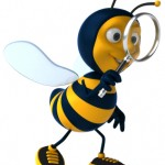 Reduce Conflict: Image is a cartoon of a bee with a magnifying glass looking for the urgency.