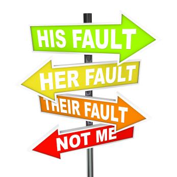Teamwork People Skills: Image is Sign Post w/ Blame Words