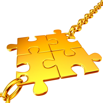 Employee Engagement: Image is Gold puzzle pieces connected.