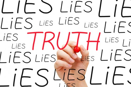 Trusting Authenticity: Image is the words Truth and Lies