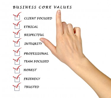 Engaging Employees: Image is list of core values