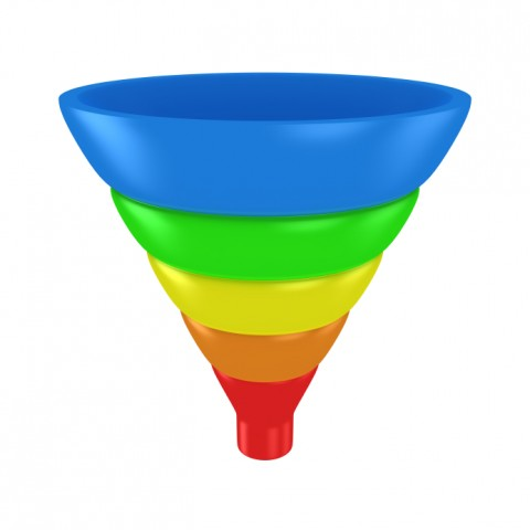 Develop emotional intelligence: Image is multi-colored funnel w/ 5 parts.