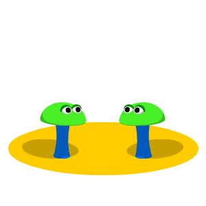 Team Cohesion: Image is two animated mushrooms bowing to each other.